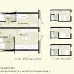 Wohnen_201007RS_Schloss Tandalier - Entwurf: Zimmergrundriss mit Varianten