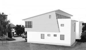 Kindergarten Arbesbach-Außenperspektive Dachschräge