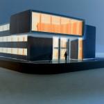 Verwaltungsbauten_200107RW_Rathaus Willich-Modellfoto Südfassade in der Nacht