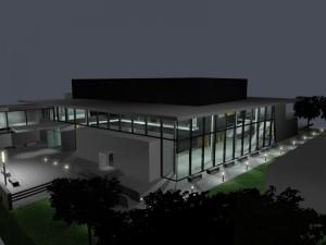 Sonderbauten_200407KR_Konzertsaal Raiding-Außenperspektivebei Nacht 03